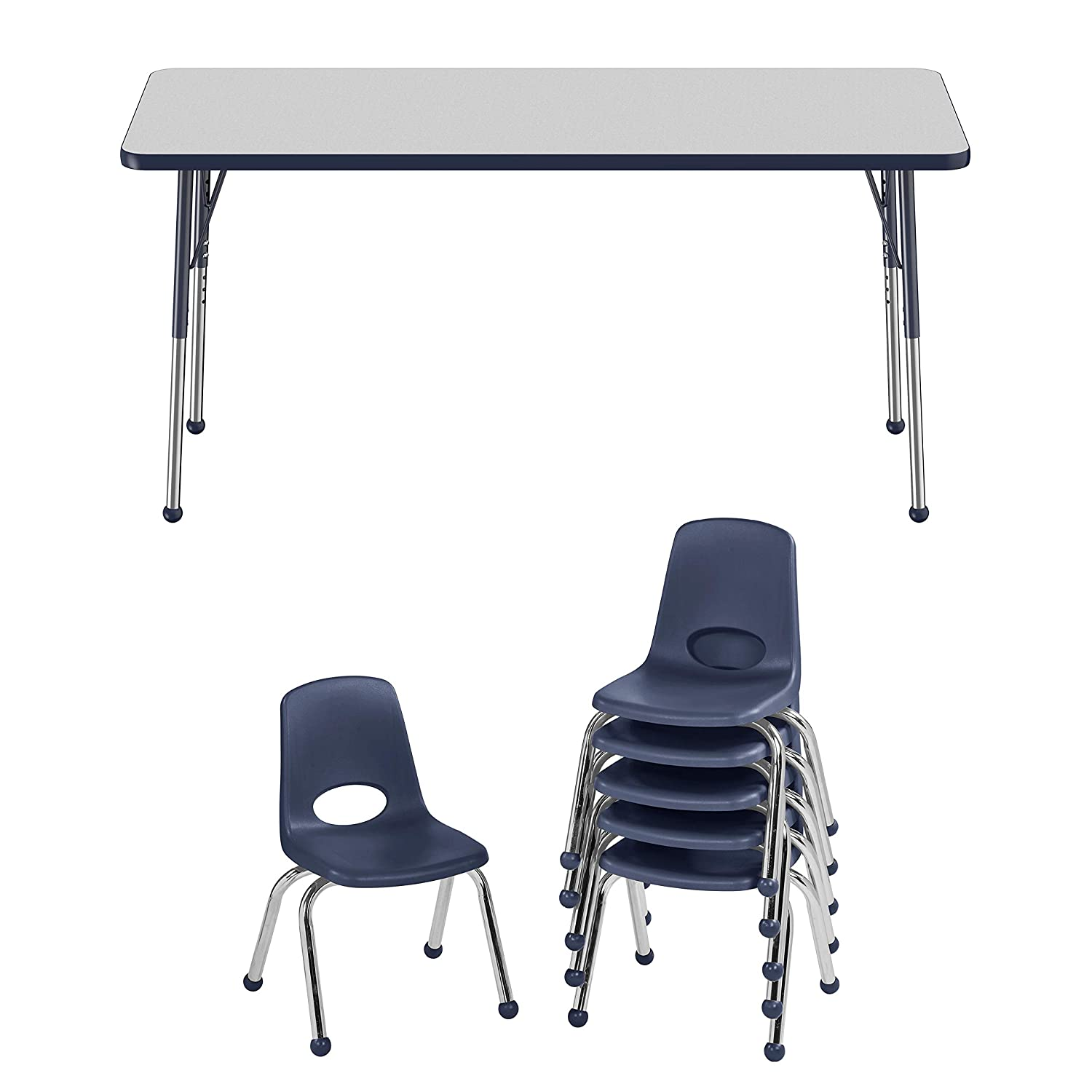 FDP Rectangle Activity School and Office Table Standard Legs with Ball Glides and Six 14 inch Navy School Stack Chairs 30 x 60 inch Gray Top and Navy Edge