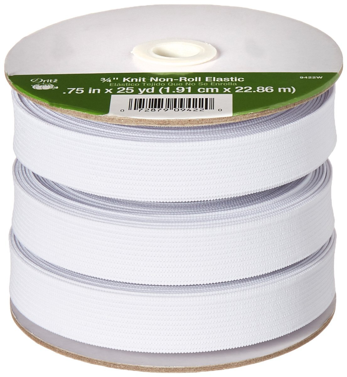 Dritz 9323W Non-Roll Knit Elastic 1-Inch by 30-Inch White