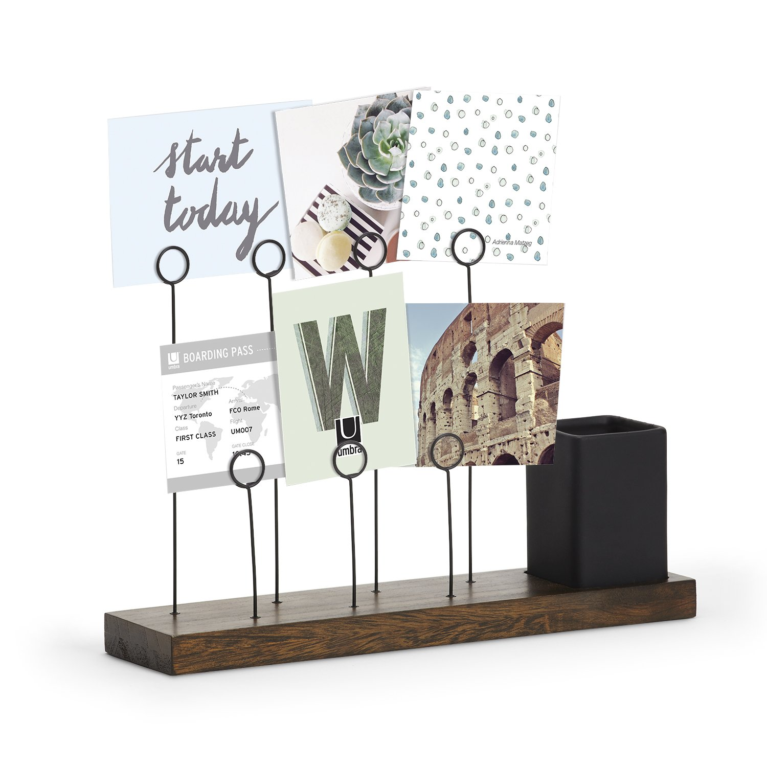 Umbra Gala, Multi Built in Planter or Pen Holder for Desk, Non Picture Frame with 7 Photo Clips, Black/Walnut by Umbra