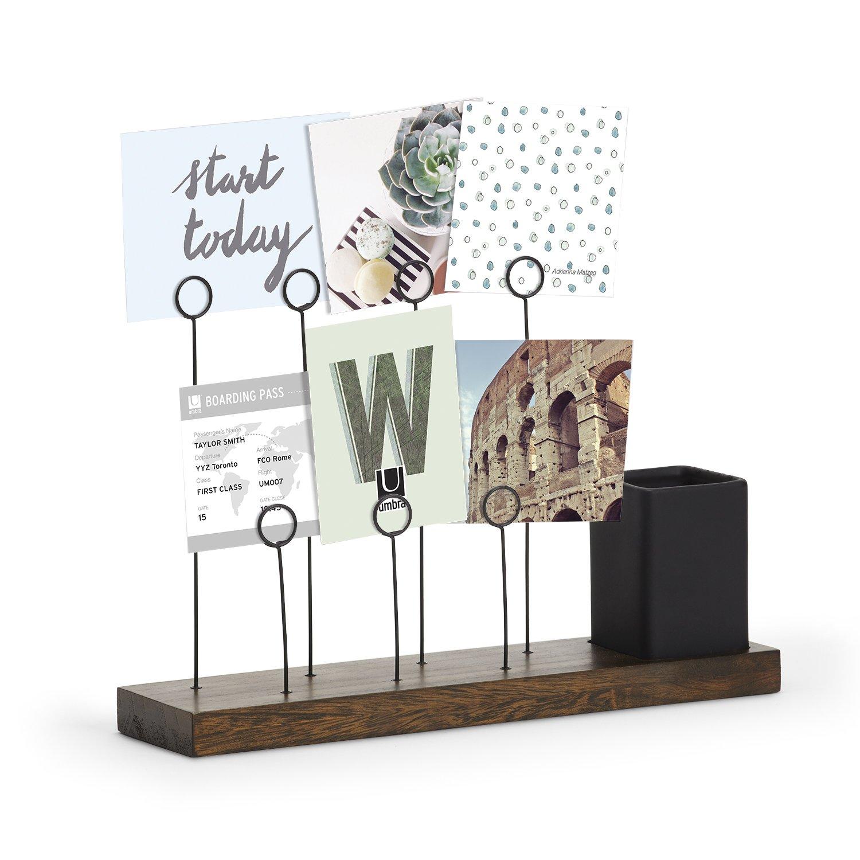Umbra Gala, Multi Built in Planter or Pen Holder for Desk, Non Picture Frame with 7 Photo Clips, Black/Walnut