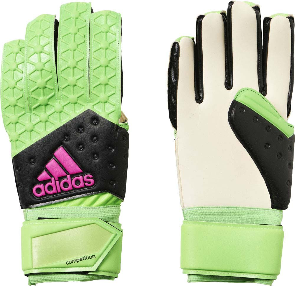 adidas(アディダス) サッカー用 キーパーグラブ ACE ゾーン フィンガーチップ ソーラーグリーン×コアブラック×ショックピンクS16×ホワイト KAQ95 ソーラーグリーン×コアブラック×ショックピンクS16×ホワイト B01825ZHCK12