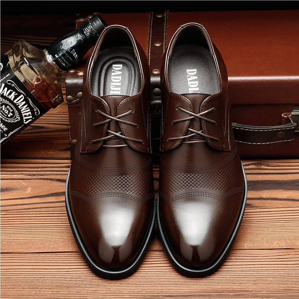 MUMUWU Classic Formal Mens Leather Shoes Height 6cm Breathable Business Oxfords for Gentlemen Breathable