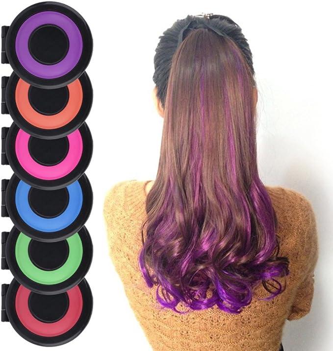 PEPECARE Set de 6 colores tinte para el cabello en polvo, tinte para pasteles, juego de tiza para pasteles, pastel de salón, kit
