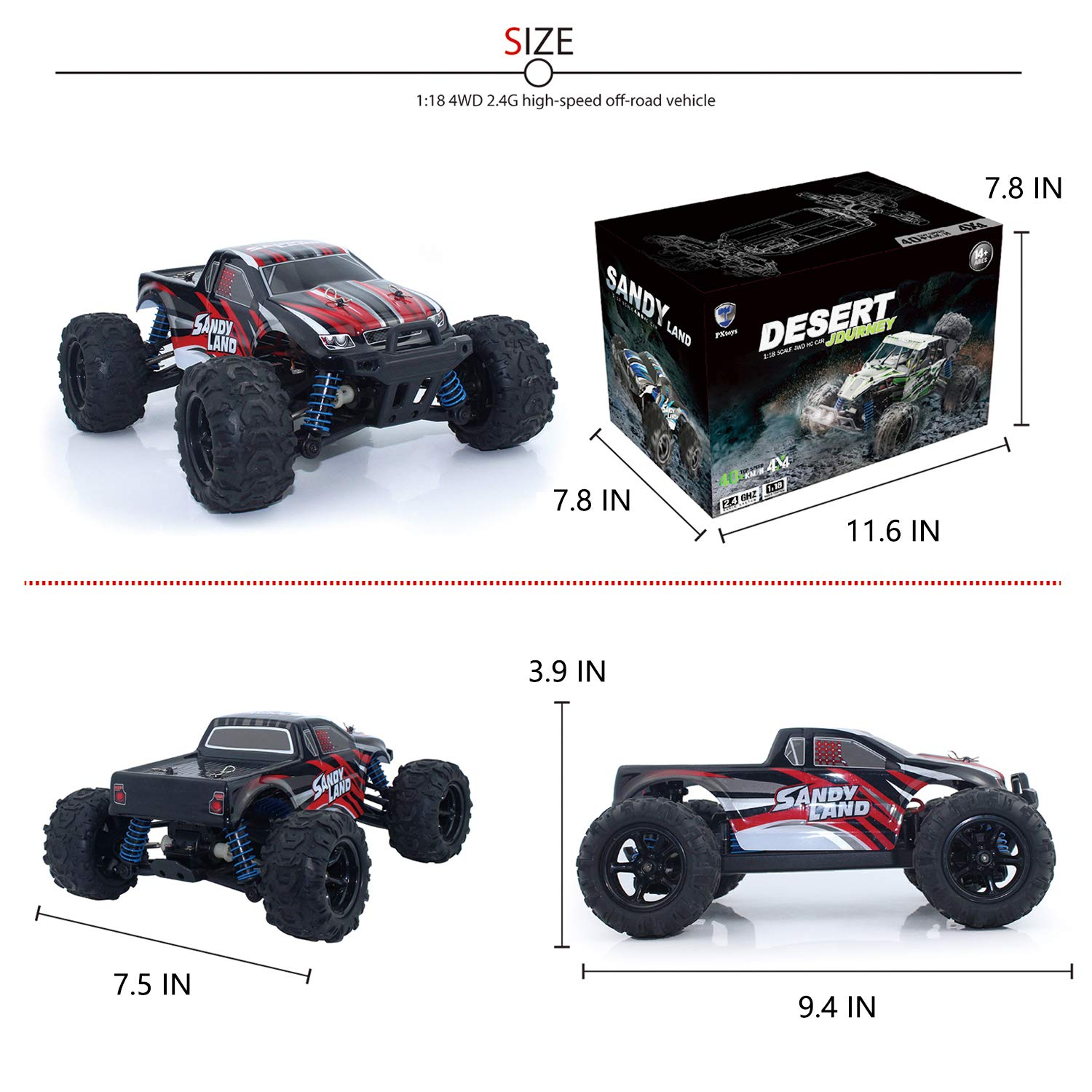 EXERCISE N PLAY RC Car, Remote Control Car, Terrain RC Cars, Electric Remote Control Off Road Monster Truck, 1:18 Scale 2.4Ghz Radio 4WD Fast 30+ MPH RC Car, with 2 Rechargeable Batteries by EXERCISE N PLAY (Image #6)