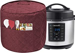 Dust Cover for Instant Pot Pressure Cooker, Cloth Cover with Pockets for Holding Extra Accessories, Waterproof Easy Cleaning,Can Ironable (Red Wine, For 8 Quart Instant Pot)