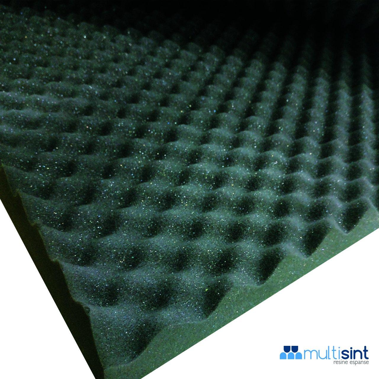 Paneles aislamiento acústico bugnati - Espuma de poliuretano 50 x 50 x 4,8 cm densidad 18 - Color Negro + pegamento MULTISPRAY (unidades 8 paneles + 1 ...
