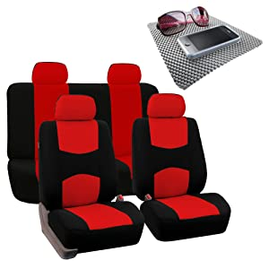 FH Group Bright Flat Cloth Full Set Car Seat Covers, Red/Black w. Free GIFT- Fit Most Car, Truck, Suv, or Van