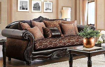 Astounding Amazon Com Furniture Of America Sm6407 Sf Nicanor Sofa Tan Squirreltailoven Fun Painted Chair Ideas Images Squirreltailovenorg