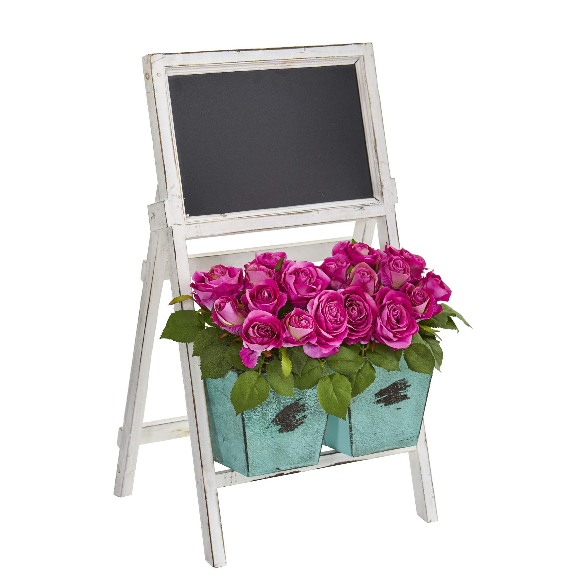 Nearly-Natural-1750-26-in-Rose-Artificial-Farmhouse-Stand-with-Chalkboard-Silk-Arrangements-Pink