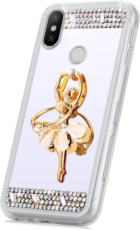 Surakey kompatibel mit Handyh/ülle Xiaomi Redmi Note 6 Pro H/ülle,Bling Gl/änzend Glitzer Spiegel TPU Silikon H/ülle Ultrad/ünn H/ülle Schutzh/ülle Case f/ür Redmi Note 6 Pro Tasche mit Ring St/änder,Rose Gold