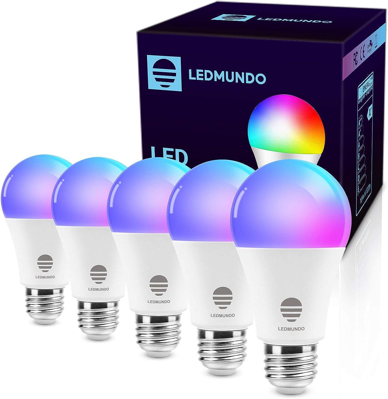 Smart WiFi LED Light Bulbs, 100W Equivalent - 2700K-6500K - 10W Bulb - RGBCW A19 LED Bulb E26 Base - 1100LM - WiFi Light Bulb - Color Changing Bulb, Works with Alexa & Google Home, 5 Pack