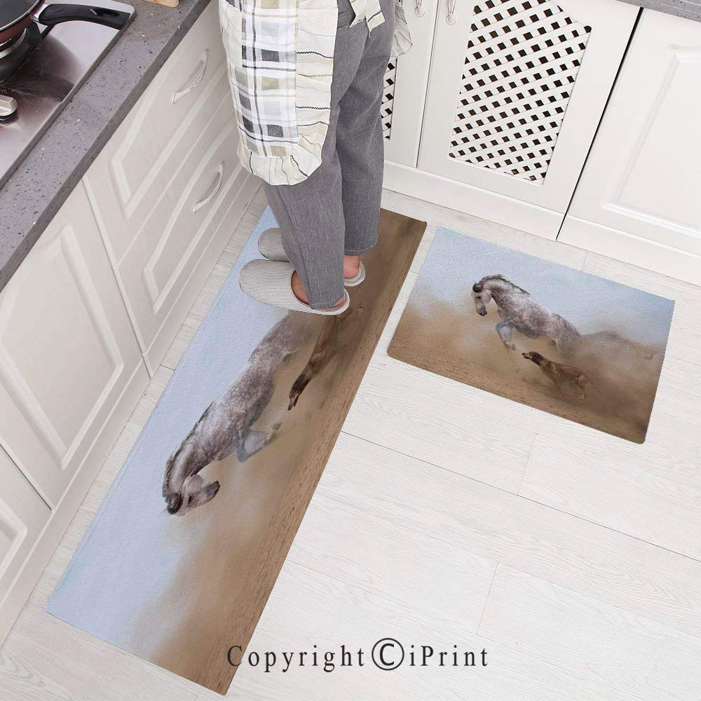 Non-Slip Rubber Backing Carpet Kitchen Mat,Lusitanian Horse Playing with Dog in Sand Storm Wild Fast Companion Friendship Doormat Runner Bathroom Rug 2 Piece Sets,15.7x23.6+15.7x47.2,Cream Silver