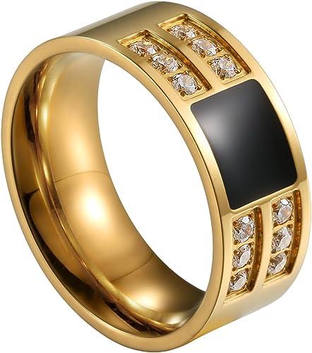 RING mit Zirkonia Edelstahl in Gold oder Schwarz