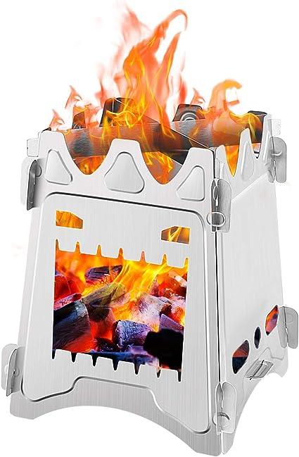 Zorara Hornillo Acampada, Estufa de Leña Portátil Ligero Plegable de Titanio Hornillo de Bolsillo para Cocina Picnic Camping Aire Libre