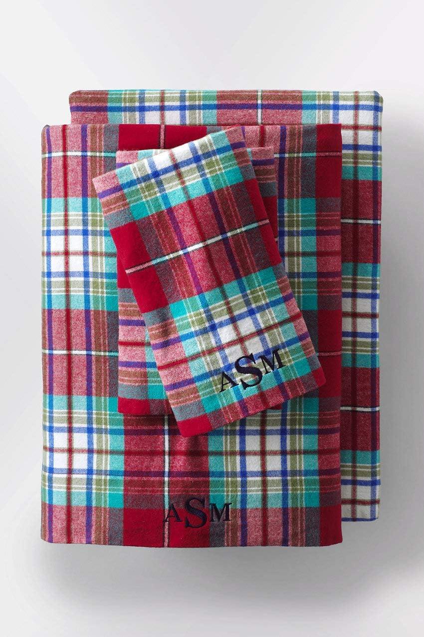 Amazon Com Lands End 5oz Velvet Flannel Plaid Pillowcases Sq Rich Red Plaid Kitchen Dining