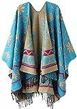 LATH.PIN Femme Manteau Cape Echarpe Epaisse Poncho Foulard Chaud Hiver avec Franges (135*170,Bleu)