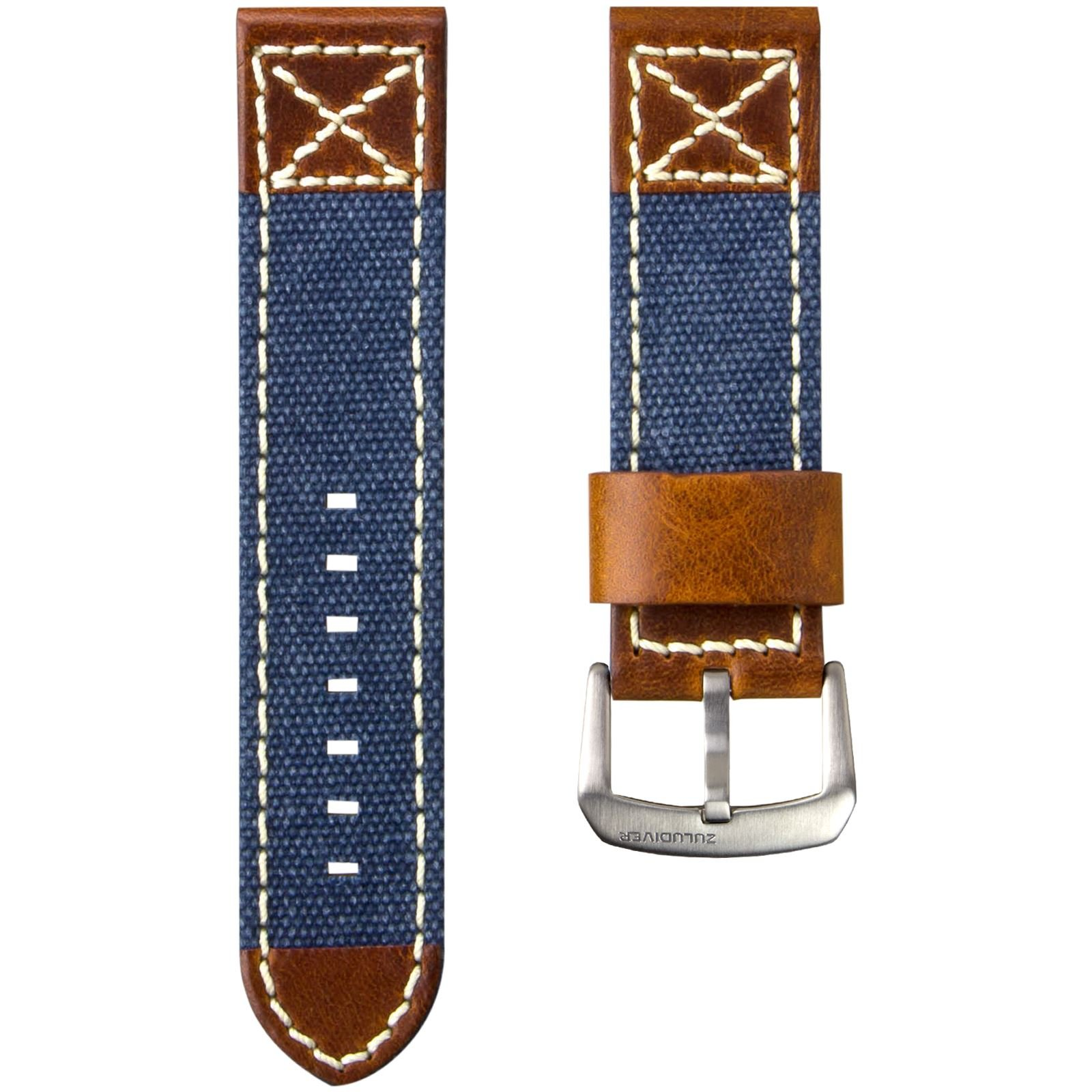 ZULUDIVER Canvas & Italian Leather Watch Strap, Navy Blue & Vintage Brown, 24mm
