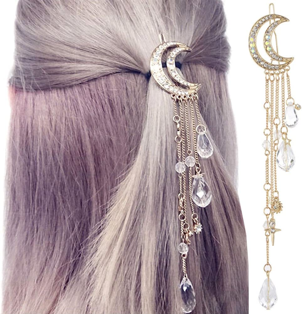 Phases of the Moon Goldtone Moon Barrette with stone