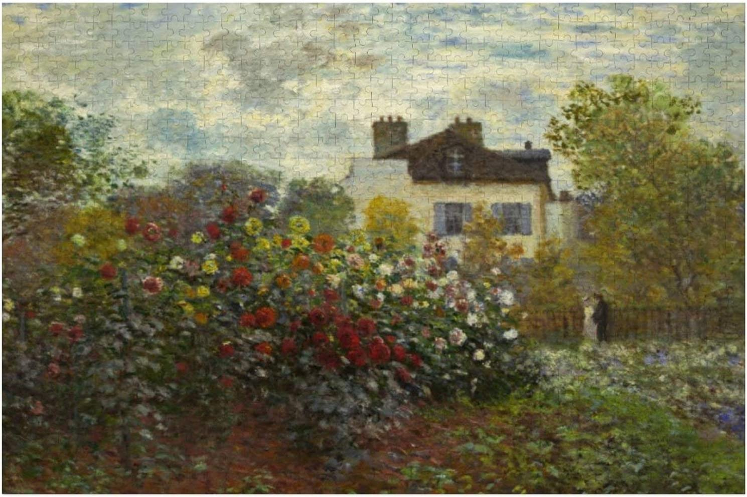 Claude Monet The Artist's Garden in Argenteuil Art Puzzles for Adults, 1000 Piece Kids Jigsaw Puzzles Game Toys Gift for Children Boys and Girls, 20