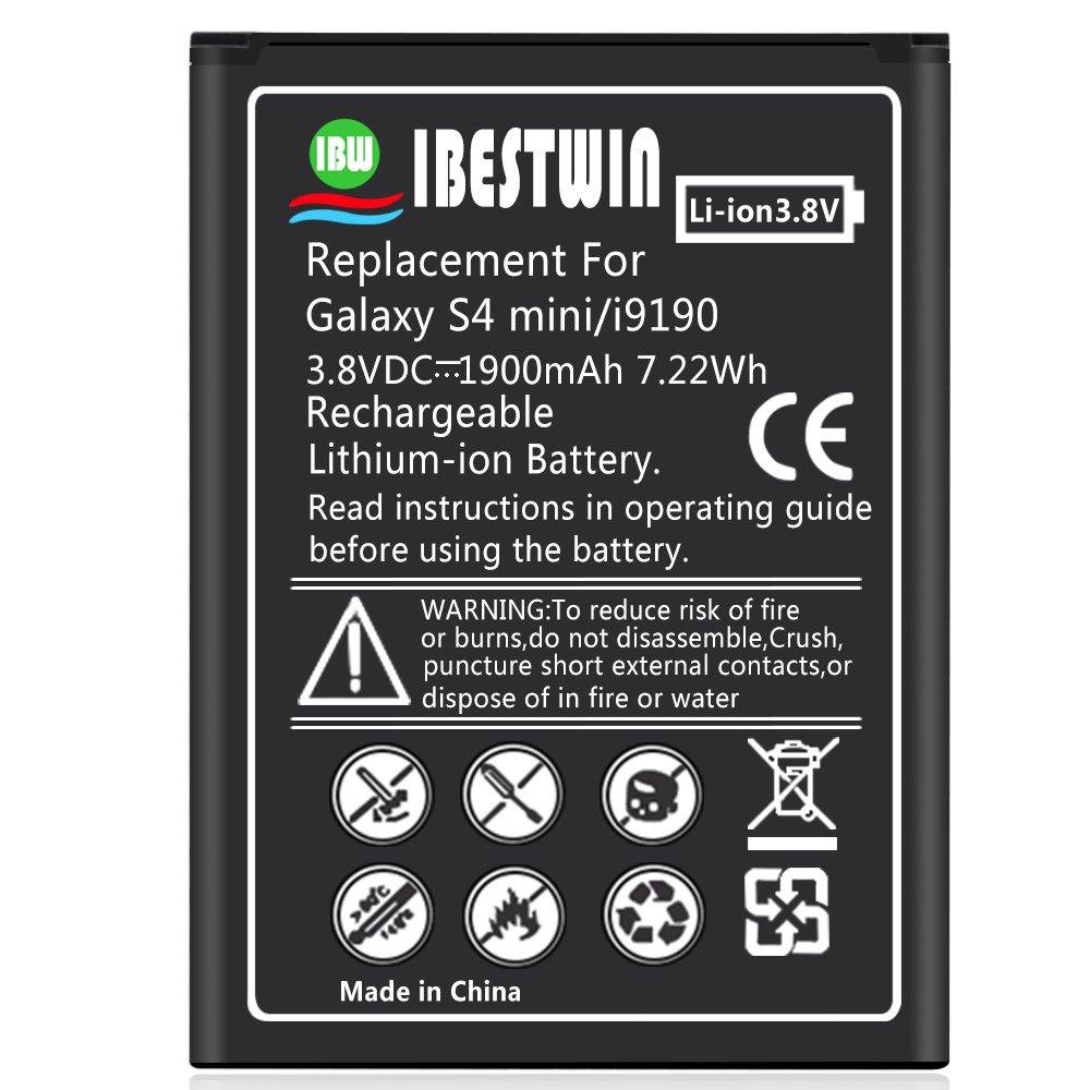 IBESTWIN 1900mAh 3.8V Batería para Samsung Galaxy S4 Mini GT ...