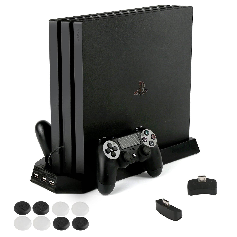 PS4 Pro 専用 縦置きスタンド PECHAM ファン付 置くだけ コントローラ充電スタンド2台 USBハブ3ポート 1年保証 ブラック