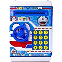 Battery Operated Mini ATM Safe Kids Piggy Saving ATM Bank with Electronic Lock Coin Bank Cash Deposit Cartoon Doremon for Kids