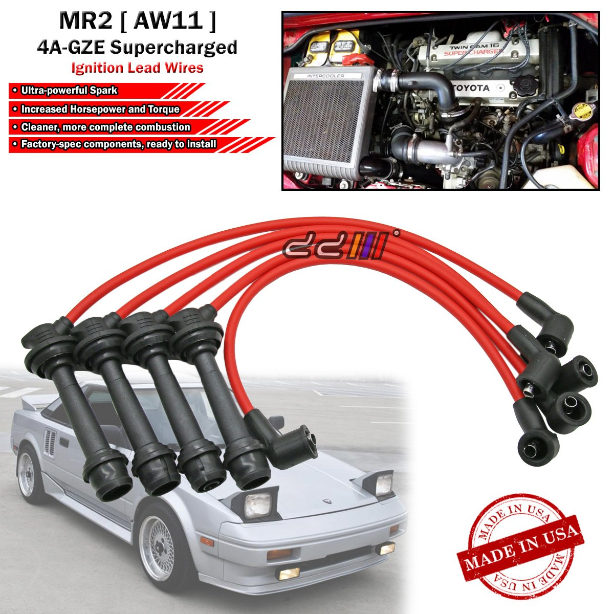 Amazon.com: SUSTEC 8mm Spark Plug Cable Ignition Wire Set For Toyota MR2  AW11 1986-89 4A-GZE Supercharged: Automotive