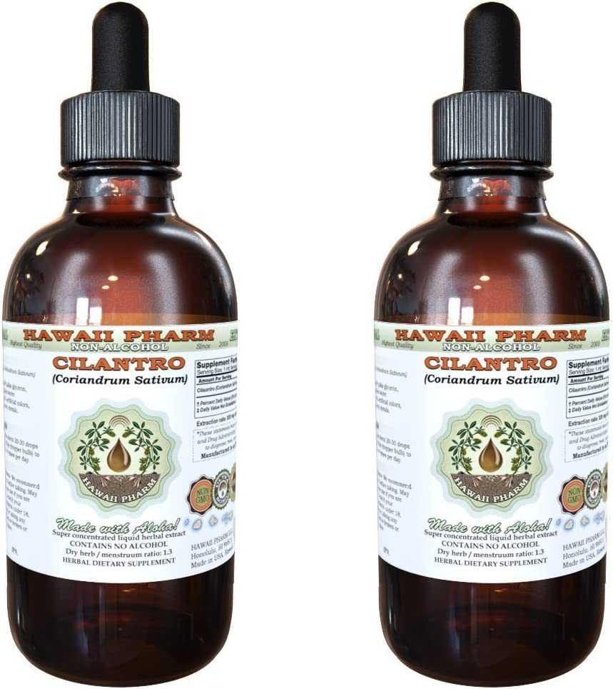 Cilantro Alcohol-FREE Liquid Extract, Organic Cilantro Coriandrum Sativum Dried Leaf Glycerite Hawaii Pharm Natural Herbal Supplement 2×4 oz
