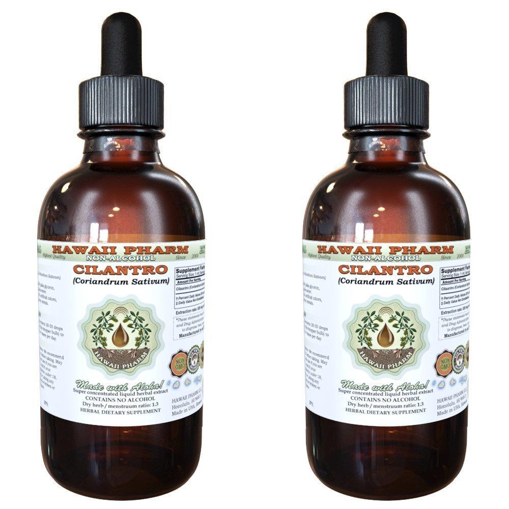 Cilantro Alcohol-FREE Liquid Extract, Organic Cilantro (Coriandrum Sativum) Dried Leaf Glycerite Hawaii Pharm Natural Herbal Supplement 2x4 oz