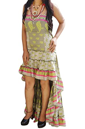 Womens Ruffle Flare Hi Low Dress Recycled Silk Lost In A Dream