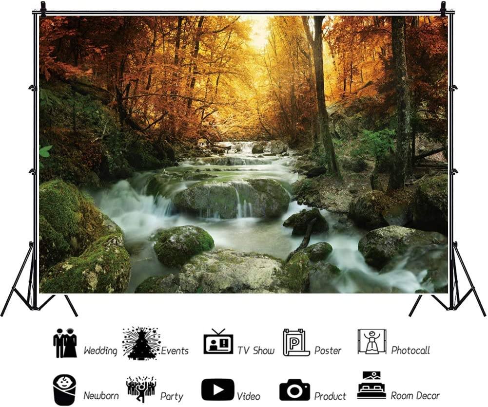 AOFOTO Polyester Autumn Mountain Stream Backdrop 5x3ft Coloring Jungle Forest Waterfall River Landscape Rock Background for Photogrgaphy Fall Creek Scenery Tapestry Photo Studio Props Washable