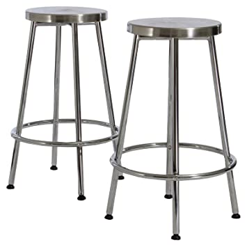 Strange Mayworth Chrome 20 Backless Bar Stools In Stainless Steel 2 Pack Machost Co Dining Chair Design Ideas Machostcouk