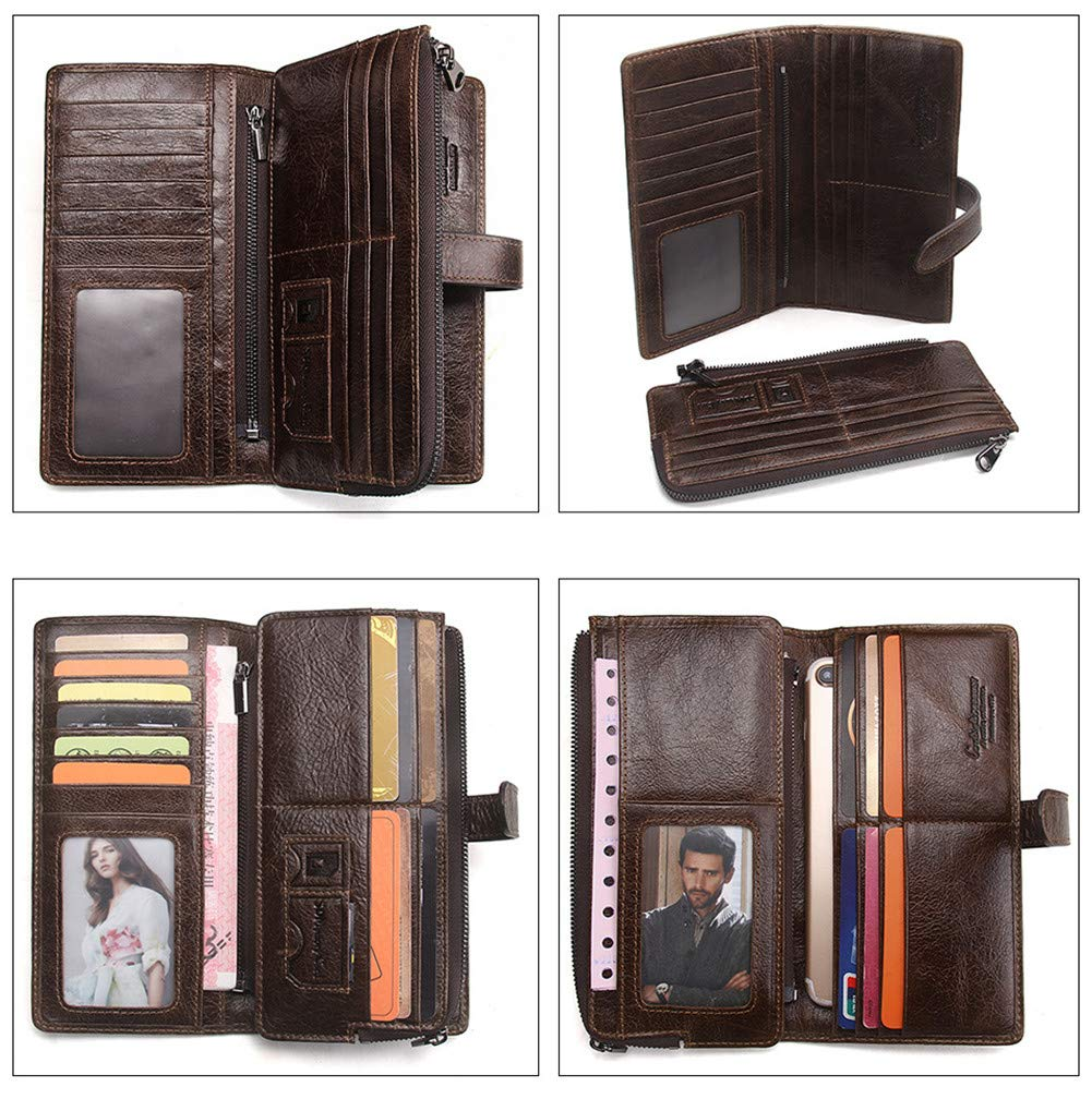 XMYL Mens Leisure Wallet,Genuine Leather Splice Long Wallets Multifunction Large Capacity Coin Purse