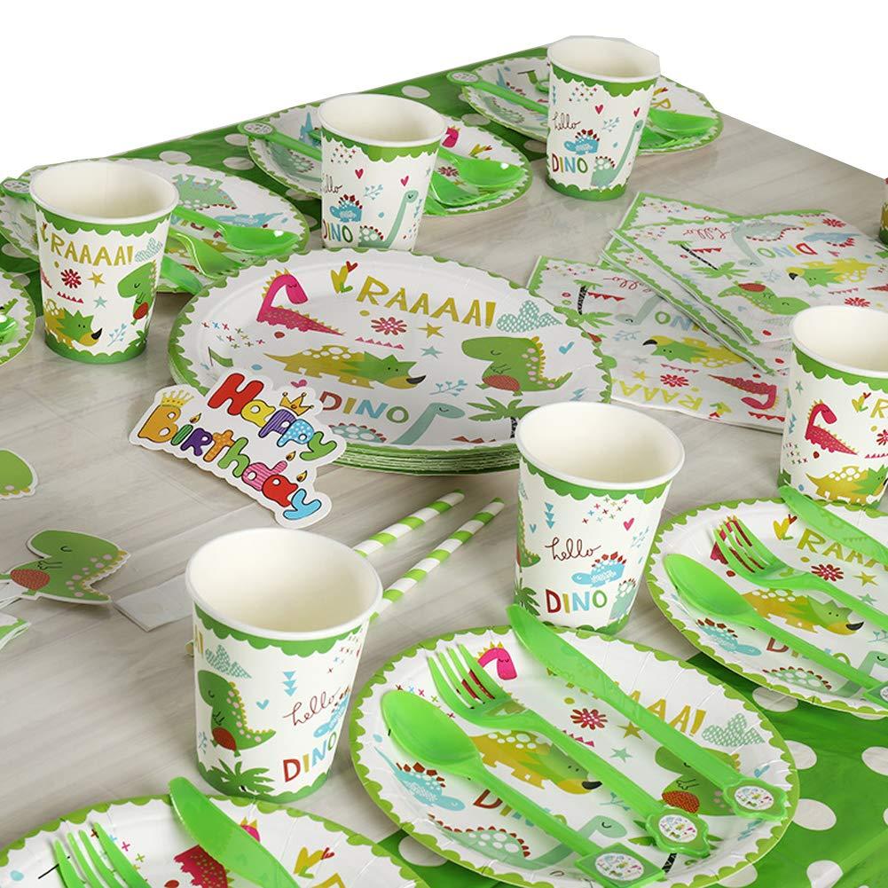 Jetable Vaisselle F/ête D/écoration Ensemble Queta Dinosaure F/ête Provisions Set Vert Comprend 12 Vari/ét/és 111 pi/èces
