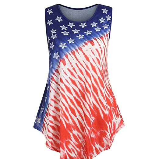 8e07e2a93ee95d Amazon.com  iTLOTL Women Sleeveless Flag Print Irregular Swing Vest Tank  Cool Blouse Tops T Shirt  Clothing