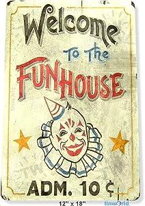 "Unoopler TIN Sign Fun House Circus Metal Decor Clown Art Kitchen Store Ranch Bar Tinworld A827 12"" x 16"""