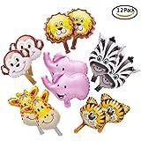 SUN-Eミニチュア動物バルーンジャングルサファリ動物のテーマ誕生日パーティー子供の装飾子供の手キャッチバルーン12ピースセット
