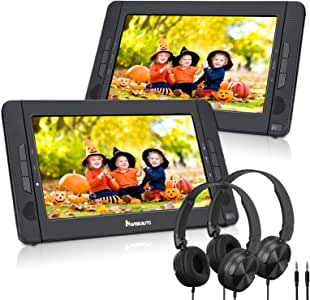 """NAVISKAUTO 10.1"""" Dual Screen Portable DVD Player for Car, Headrest Video Player with Headphones, 5-Hour Rechargeable Battery and Last Memory"""