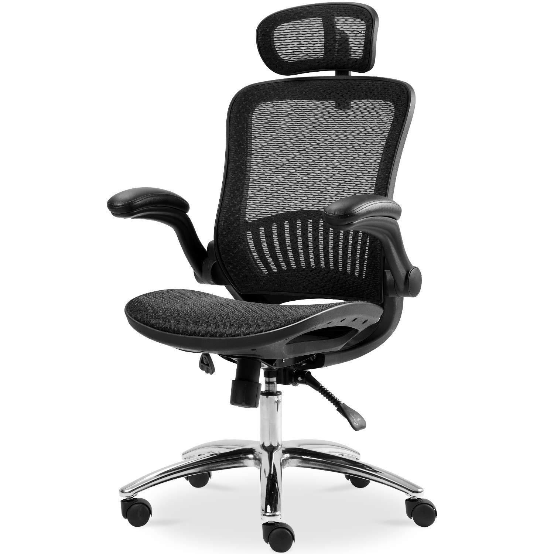 Ergonomic Office Chair Use Mesh Fabric and Plating Base with Adjustable Headrest and Flip-up Armrest,New Tilt Locking Mechanism, Black