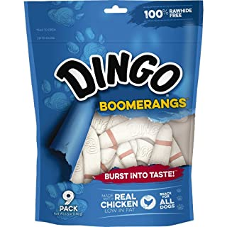 Dingo Rawhide Free Boomerangs For All Dogs, 9-Count