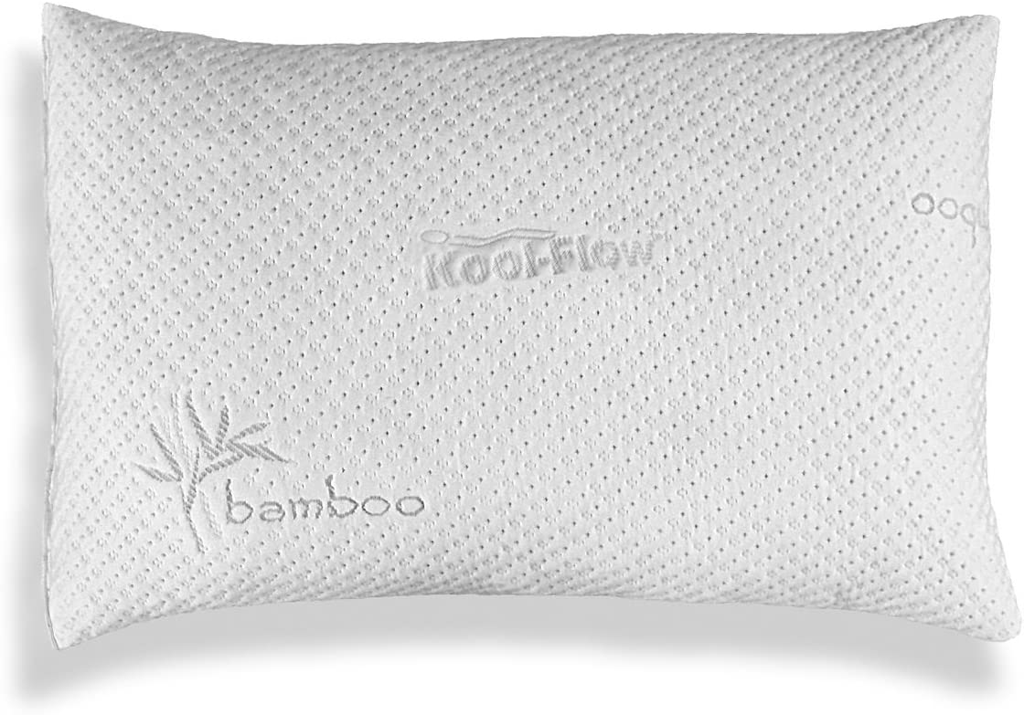 Xtreme Comforts - Slim Hypoallergenic Kool-Flow Bamboo Shredded Memory Foam Bed Pillow for Sleeping, Back, Side & Stomach Sleepers - Queen Size - Made in USA