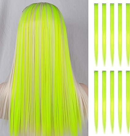 FESHFEN extensiones de cabello colores, 10Pcs de cabello Fluoresceína para niñas Party Highlight Postizos de pelo color liso y colorido Clip en ...