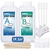 Epoxy Resin Clear Crystal Coating Kit 19.1oz - 2 Part Casting Resin for Art, Craft, Jewelry Making, River Tables, Bonus Glove