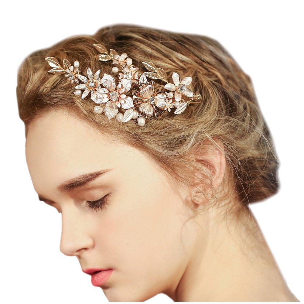 Mariage Pince à cheveux nuptiale d'or Floral cheveux avec strass Bling Prom Accessoires Décoration FAYBOX BRIDAL AZWTS60080