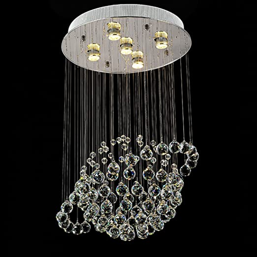 Lediary 9 light modern chandelier rain drop lighting crystal sphere fixture planet shape pendant ceiling