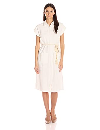 647338804b15 Moon River Women's Linen Shirt Dress with Rope, Ivory, Small: Amazon ...