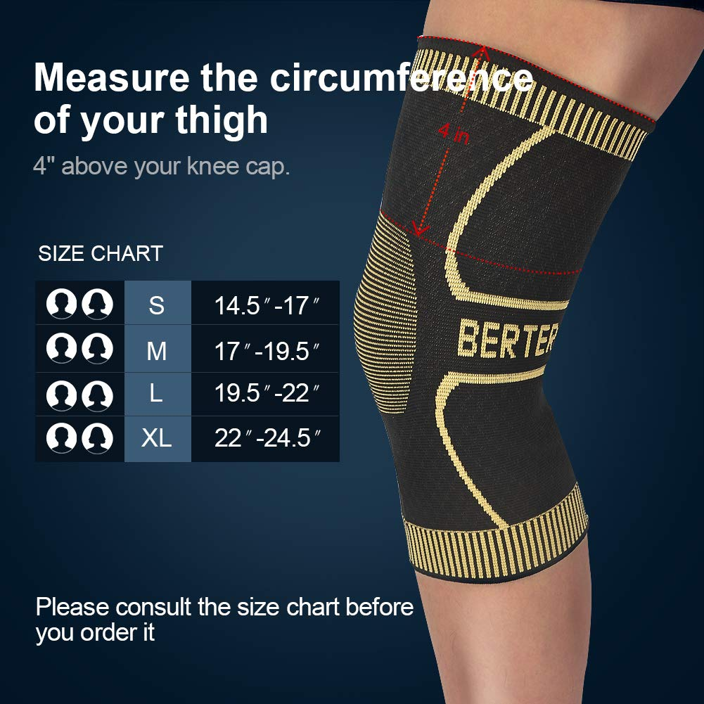 452a8ee40a BERTER Knee Brace for Men Women - Compression Sleeve Non-Slip for Running,  Hiking, Soccer, Basketball for Meniscus Tear Arthritis ACL Single Wrap - ...