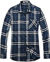 OCHENTA Men's Long Sleeve Plaid Flannel Shirt