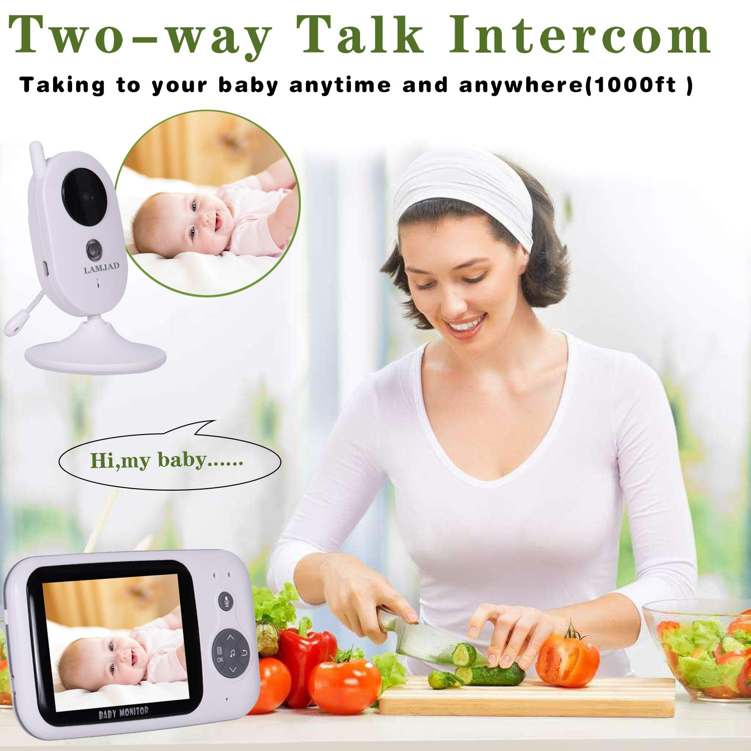 Baby Monitor, LAMJAD 3.2 Video Baby Monitor with Camera and Audio, Auto Night Vision,Two-Way Talk, Temperature Monitor, VOX Mode, 8 Lullabies, 960ft Range and Long Battery Life