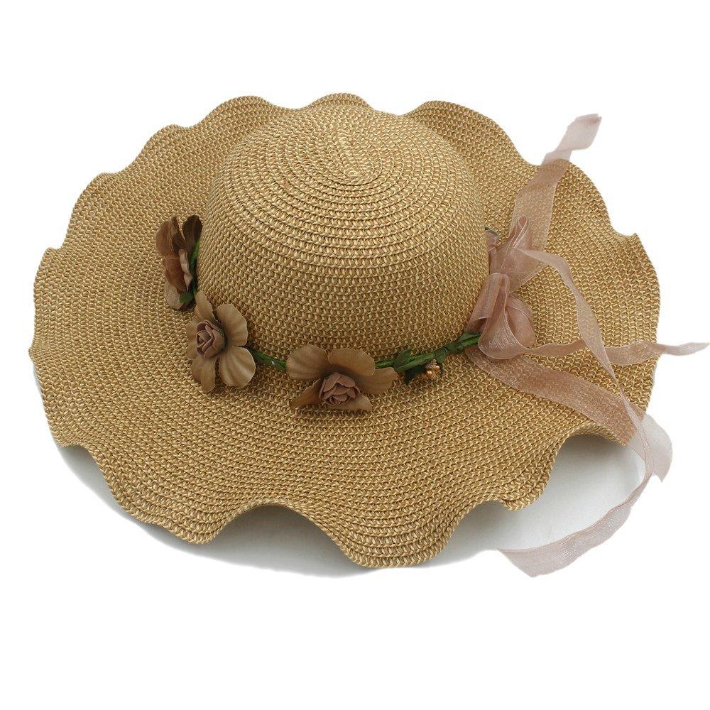 Yhuisen Big Waves Wide Brim Ladies Flower Cap Hawaii Beach Travel Vintage Floppy Straw Hat (Color : Tan, Size : 58cm)